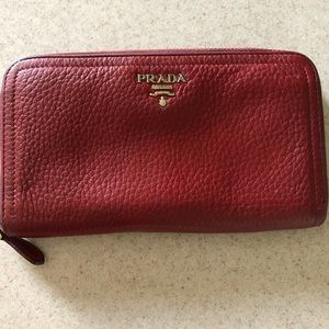 Prada Saffiano Red Long Wallet with Gold Hardware